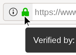 The Firefox web browser showing a website encrypted using HTTPS.