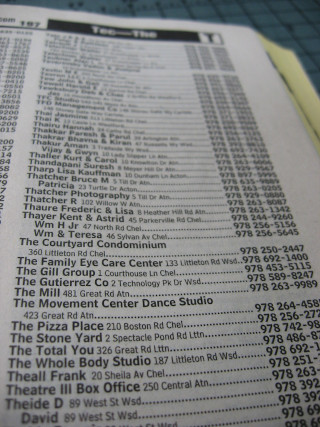 Some phone book listings.